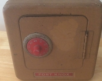 Vintage Fort Knox Toy Safe Coin Bank with Combination