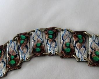 Modernist Fused Glass Enamel Link Bracelet, Attributed to Andrée Bazot
