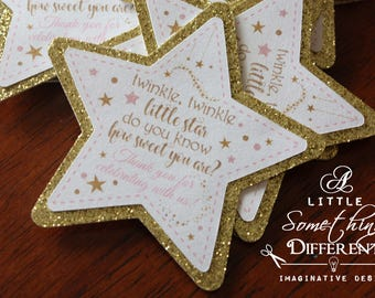 Pink and Gold Glittery Star Tags / Pink and Gold Star Favor Tags / Twinkle Twinkle Little Star Tags / Star Thank You Tags / Champagne Bottle