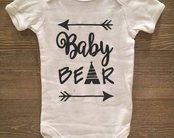Baby Bear baby onesie Bear//Teepee//PregnancyAnnouncement//Arrow