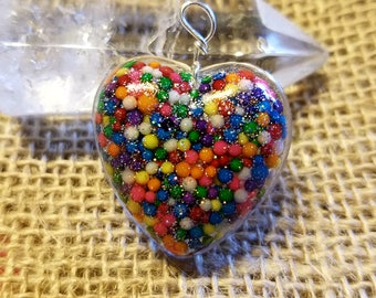 Sweet Heart Sprinkle and resin pendant