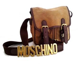 MOSCHINO / Vintage cross body bag / brown canvas bag