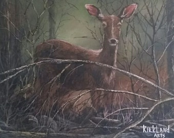 Original Acrylic Painting 16x20 Young Deer at Full Attention
