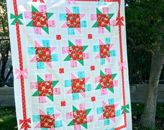 Meowy Christmas Quilt Pattern PDF Download, Christmas Quilt Pattern