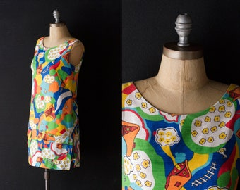 Mod Romper Mini Dress - 60s Pop Art Whimsical Scooter w/ Shorts - Colorful Shift - Size Small / Medium