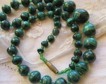 Art Deco  Graduated  Malachite Bead Necklace, Glass Spacers. 1930 s