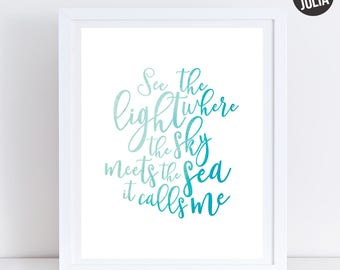 Disney Moana Print / Where the Sky Meets the Sea it Calls Me / Moana Quote / Disney's Moana / Printable / Instant Download