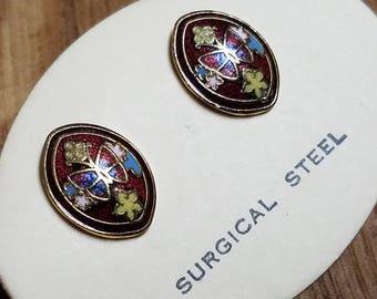 Vintage Butterfly Cloisonne Earrings