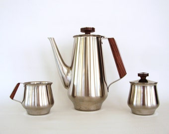 ON SALE Mid Century Coffee Pot Tea Set Creamer and Sugar Set Stainless Steel Teak Wood Handle Flowers Sleek Modern Design International Deco