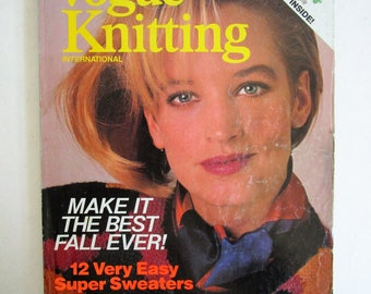 Vintage 1980s Magazine Vogue Knitting Intl Fall-Winter 1984 Craft DIY Vintage 80s Magazine