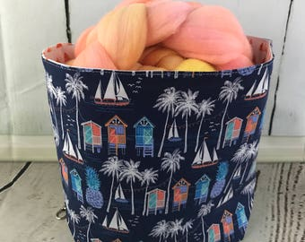 Beach themed Spinning Bucket, project bag