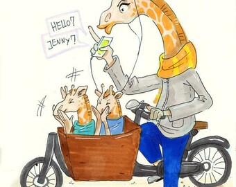 Mom Jenny the Giraffe | A5 Print