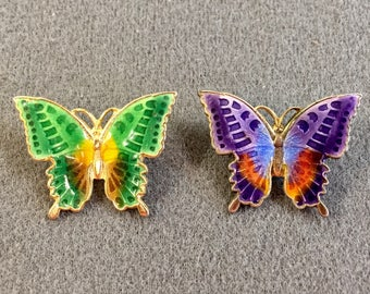 Two Colorful Enameled Butterfly Brooches.  Free shipping