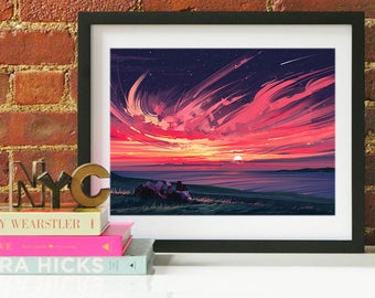 Anniversary gift, anniversary art print, anniversary, Sunset painting, Seascape painting, gift for her, gift for him, sunset