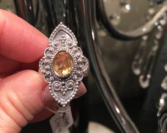 Faceted Citrine  intage Style, 925 Sterling Silver Size 8