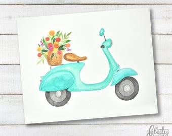 Watercolor Moped PRINTABLE Wall Art