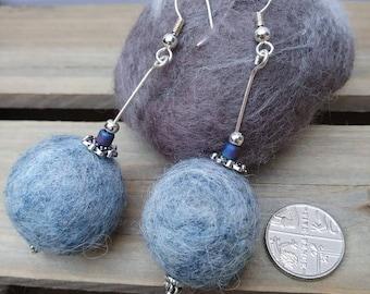 Handmade large Denim Blue Drop Felt Earrings, Wet Felted Wool Beads, Silver Plaited Findings, Aromatherapy