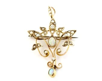 Antique Opal and Pearl Pendant, Seed Pearl and Opal Brooch, Edwardian Opal Pearl Pendant Brooch, Gold Pendant Brooch, Antique Jewellery