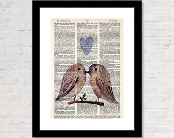 Owl Lovers On Branch with Floating Heart - Couple Gift - Anniversary Gift - Engagement Gift - Dictionary Art Print, Dictionary Art