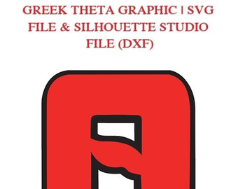 Theta Greek Letter & Background Graphic Files for Cutting Machines | SVG and Silhouette Studio (DXF)