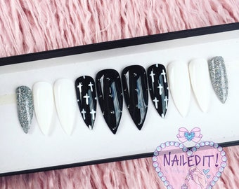 NAILED IT! Hand Painted False Nails - Monochrome Glitter Crosses