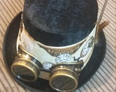 Steampunk Top Hat with Clockwork fabric and goggles