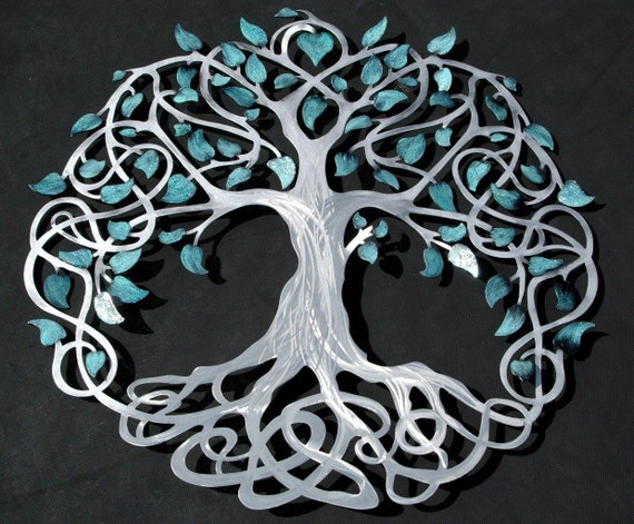Infinity Tree Of Life Silver Trunk With Teal Sparkle Leaves