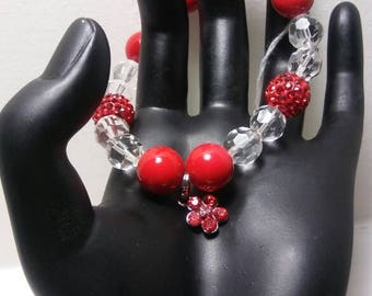 Stunning Red & Clear Beaded Bracelet, Boho Bracelet, Red Pave Beads, Beautiful Red Bracelets, Gifts For Her, Gift Ideas,