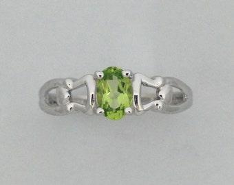 Natural Peridot Ring 925 Sterling Silver