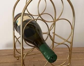 Vintage Brass 5 Bottle Wine Rack