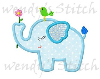 Flower elephant little bird applique machine embroidery design instant download