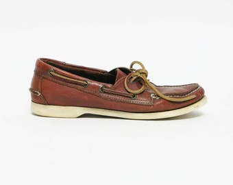 SALE - womens vintage Bass brown leather boat shoes boho flats sz 9