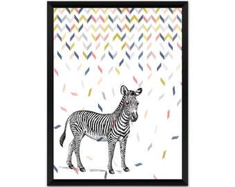 print,  zebra wall art, illustration, poster,wall decor, A4, A3