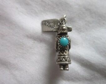 Native American Sterling Silver & Turquoise Kachina Dancer Charm Bracelet Travel Charm Rocky Mt National Park
