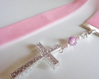 Soft pink Velvet Ribbon Bookmark w/Rhinestone Cross