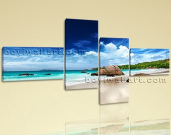 Contemporary Seascape Painting HD Print On Canvas Wall Art Beach Home Decorative, Extra Large Beach Wall Art, Bedroom, Jet Stream