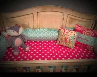 Baby Girls Crib Bedding Kumari Garden Teja Quatrefoil Polka Dot