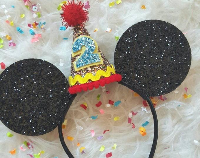 Glittery Mouse Ears Headband    Birthday Ears    Minnie Mouse Birthday    Minnie Mouse Headband    Minnie Ears    Mickey Mouse Birthday