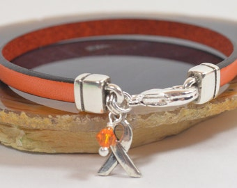 Leukemia Awareness Bracelet - Orange 5mm Flat Leather Bracelet with Awareness Ribbon and Lobster Clasp (5FA-139)