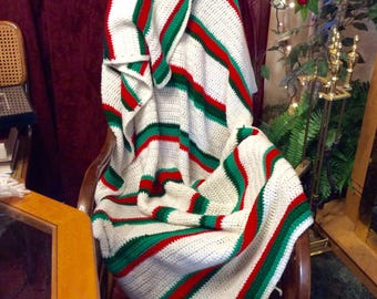 Hand made crocheted afghan blanket throw. White green red, free ship to US