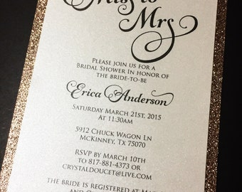 Rose Gold Bridal Shower Invitation - Glitter Bridal Shower Invitations, Engagement Announcement, Wedding Invitations, Gold, Silver, Bling