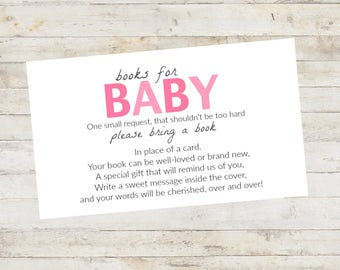 Baby Shower Printable, Baby Shower Bring a Book Card, Bring a Book Instead of a Card, Bring a Book Baby Shower Insert Pink Shades