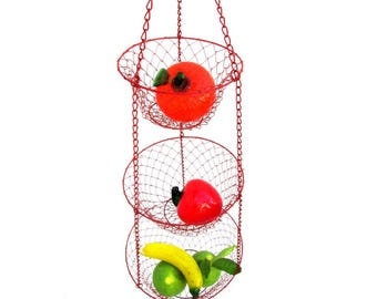 Vintage Red Metal 3-Tiered Hanging Basket | Fruit | Planters | Scarf/Accessory Organization