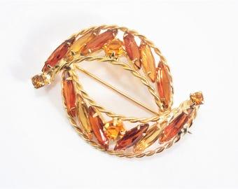 Vintage Golden Amber Rhinestone Brooch 60s