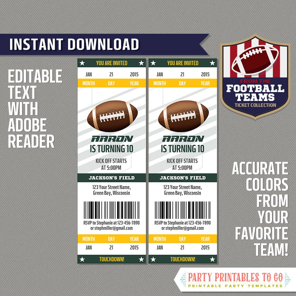 football ticket invitation template green and gold instant. Black Bedroom Furniture Sets. Home Design Ideas