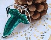"Zinc Based Alloy Hobbit Leaf Pin Brooches Pendants Silver Tone Green Enamel - 2 3/8"" x 1 5/8"""