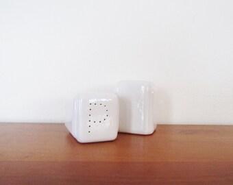 White Ceramic Art Deco Salt and Pepper Shakers Set