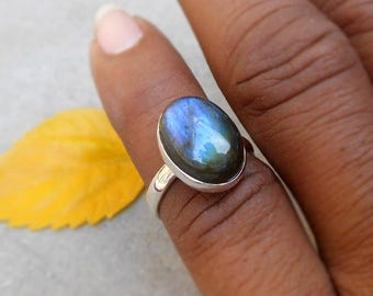 Sterling Silver Labradorite Ring 925 Solid Silver Labradorite Stacking Ring Stackable Ring Blue Flash Ring Unique Gemstone Ring Size 5.5