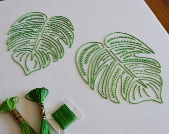 Monster Leaves hand embroidery pattern, delicious monster embroidery, modern embroidery, PDF pattern, leaf, digital download