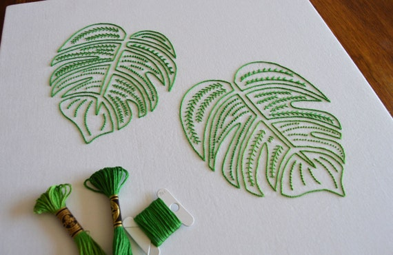 Monster leaves hand embroidery pattern delicious